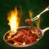 Flaming chicken skillet